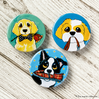 Dogs Playing Fetch 38mm Button Badges - Pack of 3