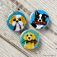 Dogs Playing Fetch 25mm Button Badges - Pack of 3