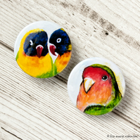 Lovebirds 38mm Button Badges - Pack of 2