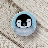 Sleepy Penguin Chick Badge - 38mm