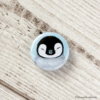 Sleeping Emperor Penguin Chick Pin Badge - 25mm