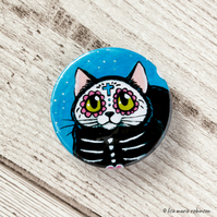 Day of the Dead Black Cat Badge - 38mm