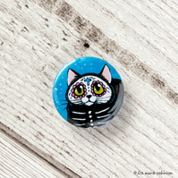 Day of the Dead Black Cat Badge - 25mm
