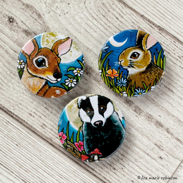 British Wildlife 38mm Three Badge Set - Badger Deer Rabbit