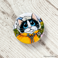 Tuxedo Cat Yellow Raincoat Button Badge - 38mm