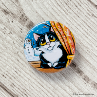 Tuxedo Cat at Window Snowman Button Badge - 38mm
