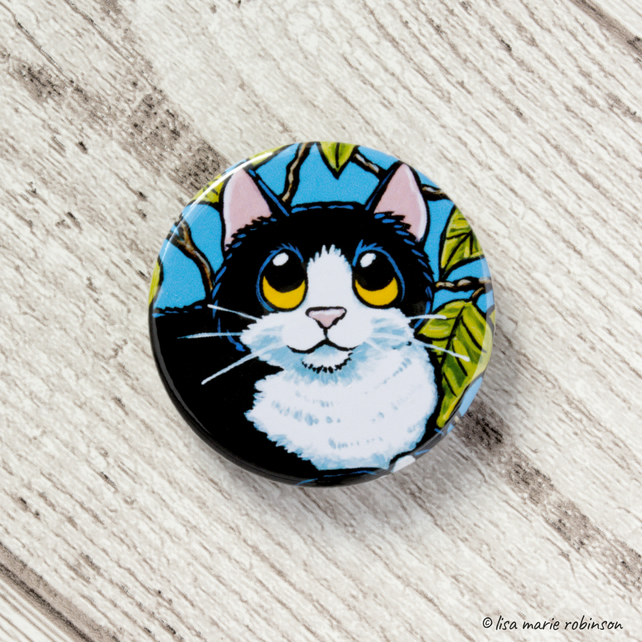 Tuxedo Cat with Tree Leaves Button Badge - 38mm