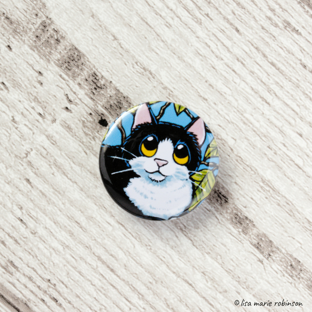 Black & White Cat with Tree Leaves Button Badge - 1 inch