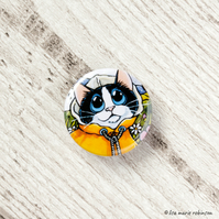 Black & White Cat Yellow Raincoat Button Badge - 1 inch