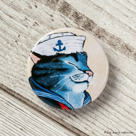 Sailor Cat Button Badge - 38mm