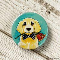 Golden Retriever with Red Rose Button Badge - 38mm