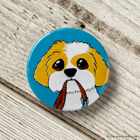 Shih Tzu with Lead Walkies Button Badge - 38mm