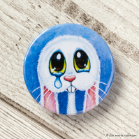 Sad Crying White Bunny Rabbit Button Badge - 38mm
