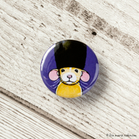 Dumbo Rat Wearing a Bearskin Hat Button Badge - 25mm