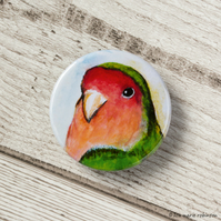 Peach-Faced Lovebird Button Badge - 38mm