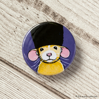 Dumbo Rat wearing a Bearskin Hat Button Badge - 38mm