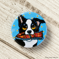 Border Collie Fetch Slipper Button Badge - 38mm