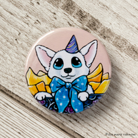 Little White Birthday Dog Gift Box Button Badge - 38mm