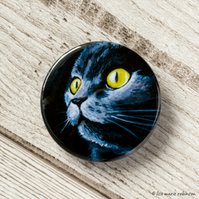 Dark Grey Cat Yellow Eyes Kitty Button Badge - 38mm