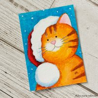 Christmas Cat Ginger Tabby - Original ACEO Painting