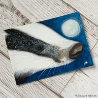 European Badger with Moon - Original ACEO Painting