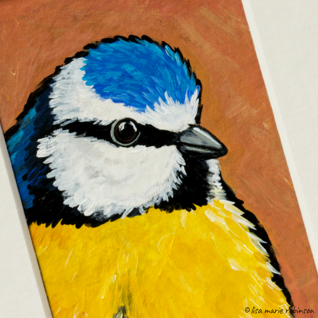 Blue Tit Garden Bird Original Painting - Mini Artwork 55mm x 84mm