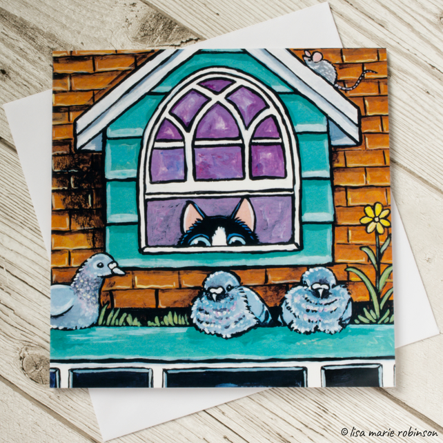 Sneaky Cat and Pigeons Greeting Card - Blank Inside