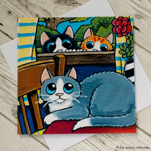 Curious Cats Greeting Card - Blank Inside