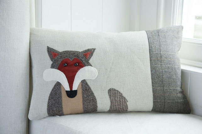 Handmade Fox cushion with brown tweed ( as featured in Country Living Mag )
