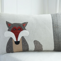 Handmade Fox cushion with brown tweed