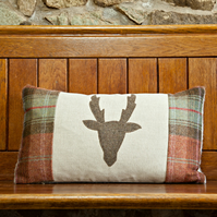 Handmade Stag cushion in Autumn check wool