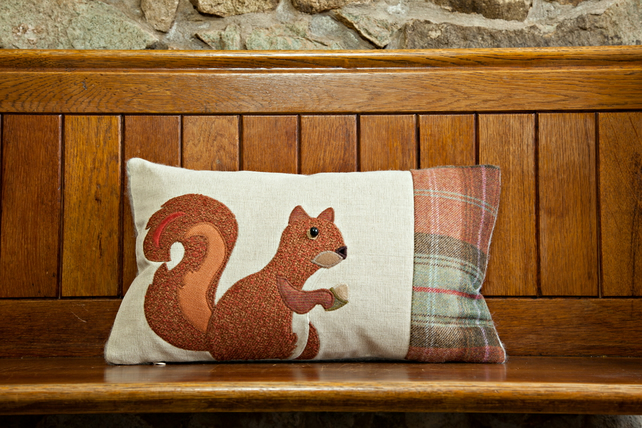 Handmade Squirrel cushion with Autumn check wools