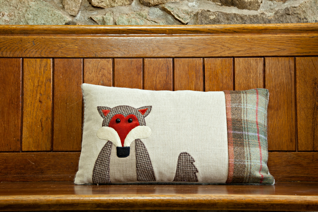 Handmade Fox cushion in Autumn check wool as seen on BBC Autumnwatch