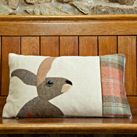 Handmade Hare cushion in Autumnal check wools