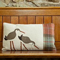 Handmade Dunlin, Sea bird Cushion in Autumn wools