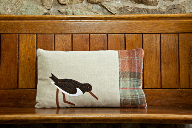 Handmade Oystercatcher, Sea bird cushion in Autumn wool