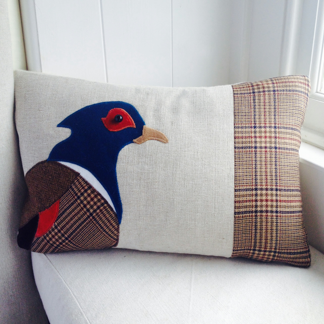 Pheasant Cushion in tweed, linen and wools as featured in Period Living Magazine