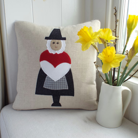 Handmade welsh lady cushion - St David's Day