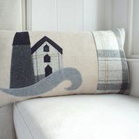 Handmade Cornish inspired tin or copper mine cushion, with wool woven in Wales.