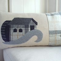 Handmade Water Mill Cushion with wool woven in Wales