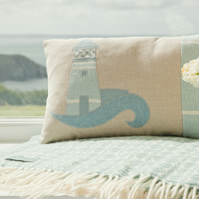 Handmade Lighthouse Cushion in pastel blue cottons