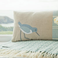 Handmade seabird Cushion in pastel blues