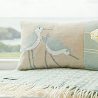 Handmade seabirds Cushion in pastel blues