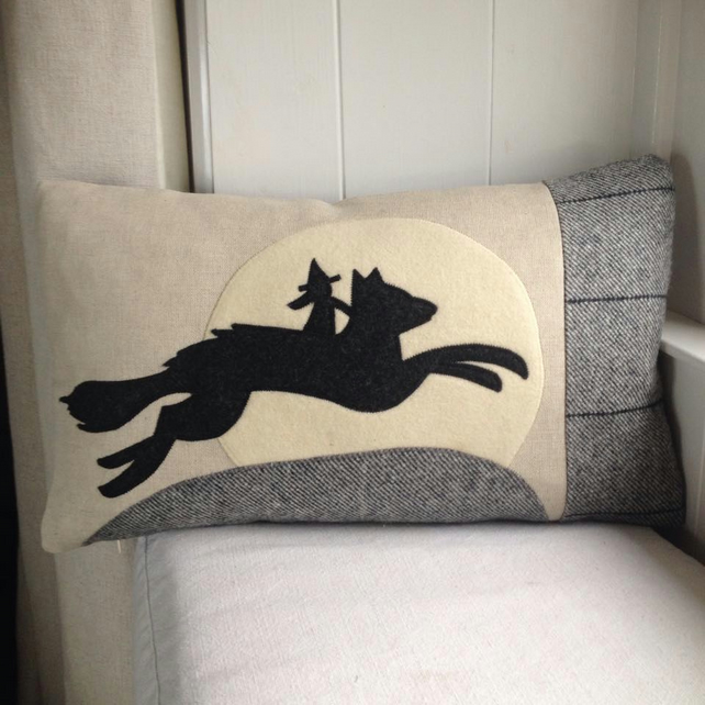 Halloween wolf and witch cushion