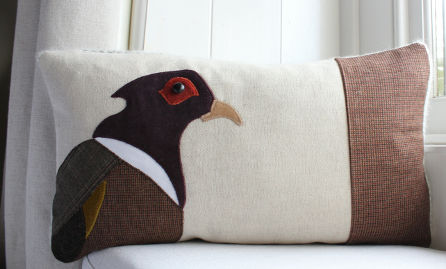 Handmade Pheasant Cushion in Purple Velvet