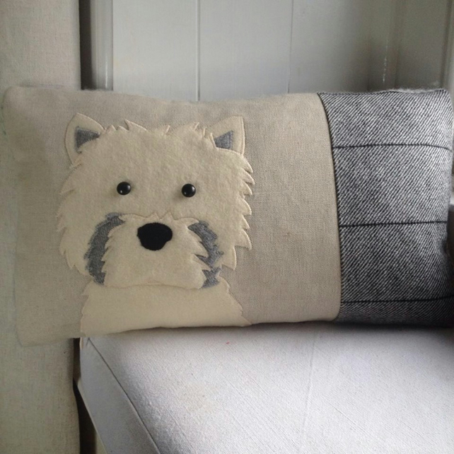 Handmade West highland terrier dog cushion