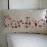 Handmade Cariad Cushion - meaning love or darling in Welsh with Melin Tregwynt