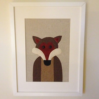 Handmade Fox applique framed picture