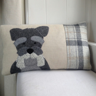 Schnauzer Cushion in mixed grey tweeds