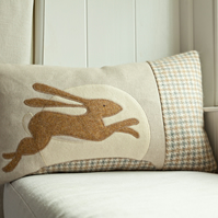 Handmade Leaping Hare cushion
